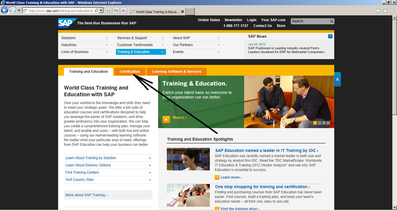 How to Register for SAP Certification: Select Tab