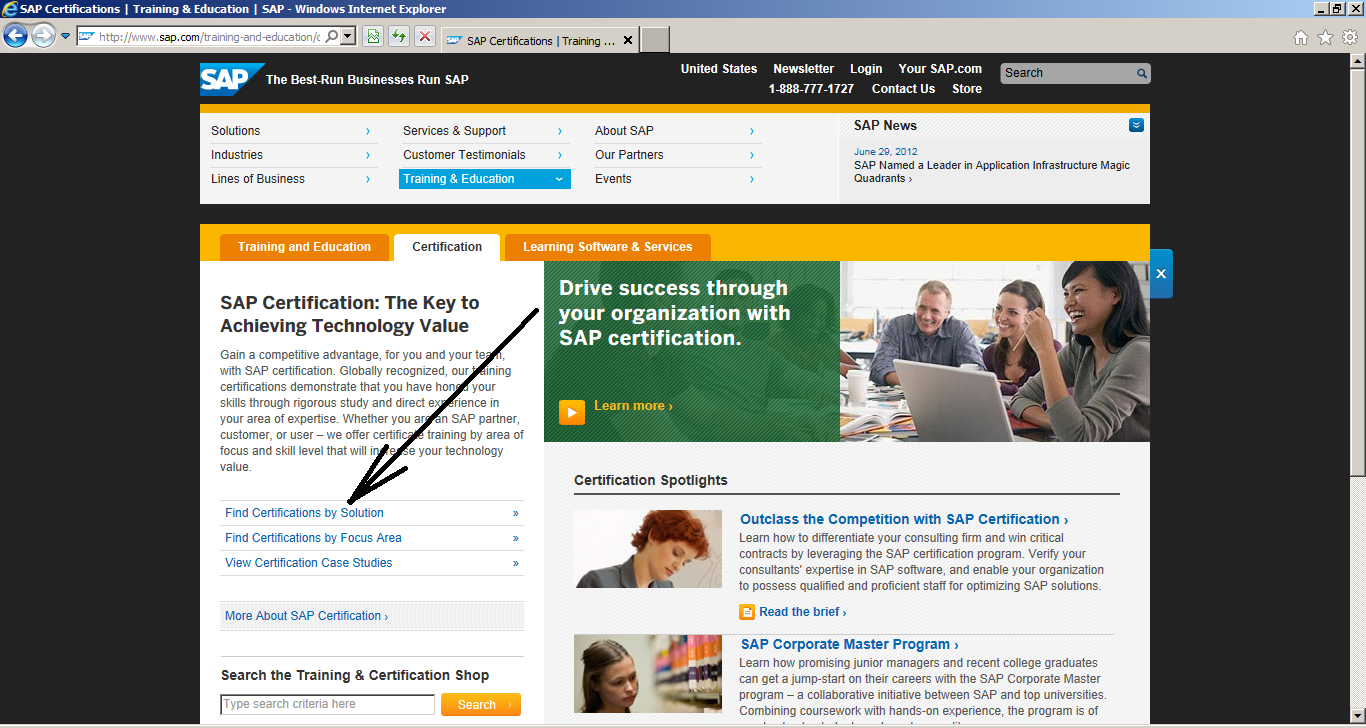 How to Register for SAP Certification: Find Certifications by Solution