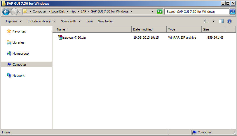 An archive with SAP GUI