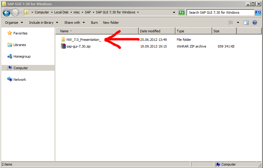 The archive with SAP GUI has been extracted