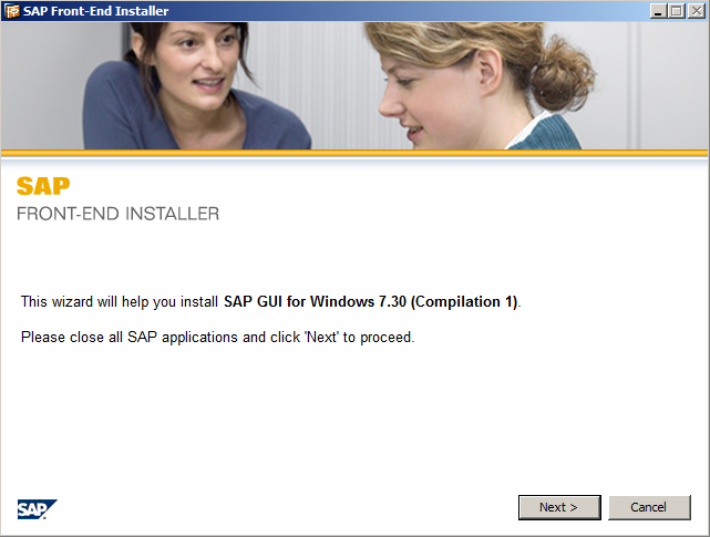 The start screen of SAP Front-End Installer