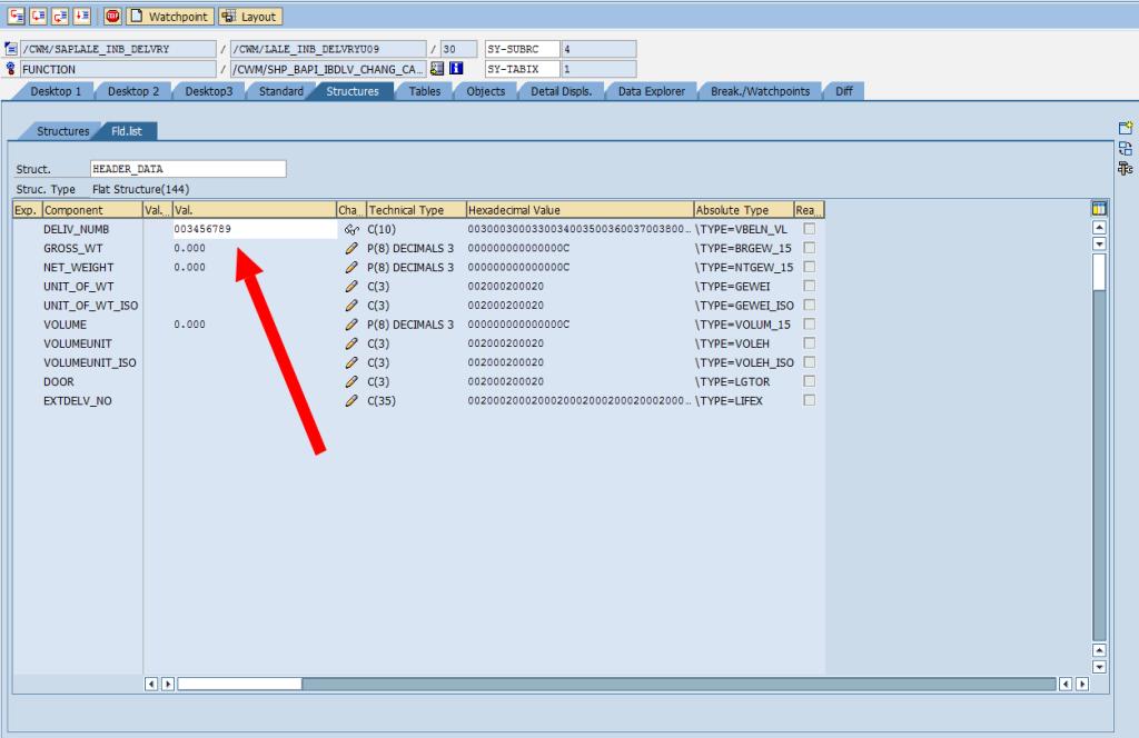 SAP Debugger: Change Structure Variable [Edit]