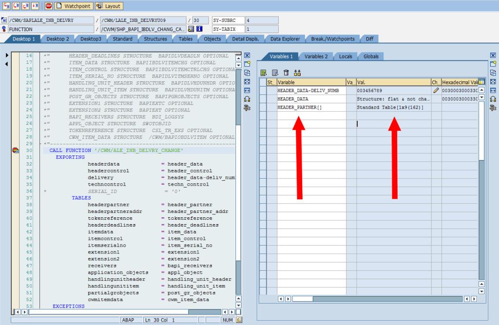 SAP Debugger: Change Table Variable [Find]