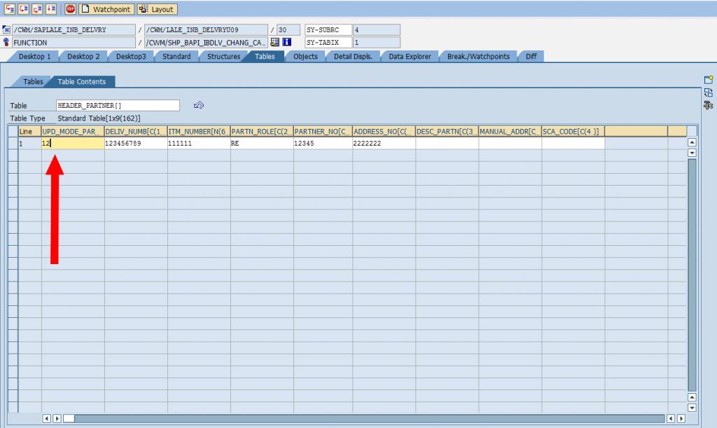 SAP Debugger: Change Table Variable [Modifying Table Content]