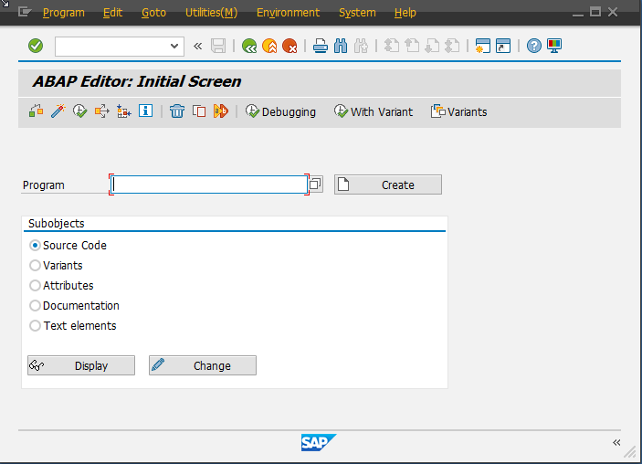 Example of SAP GUI Window