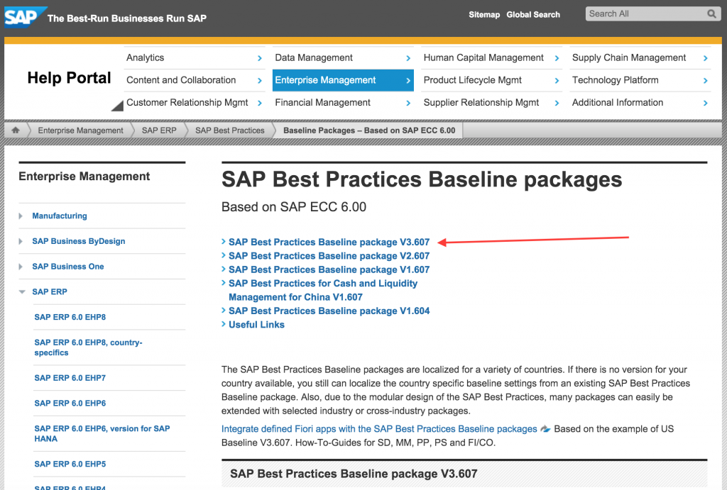Select the latest SAP Best Practices package