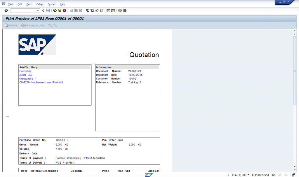 VA23 - View sales quotation and issue output documents