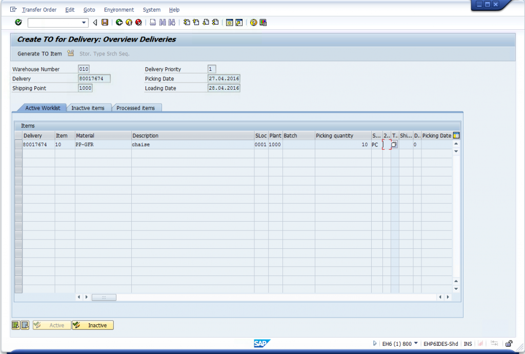 LT03 - Create Transfer Order for Picking Outbound Delivery