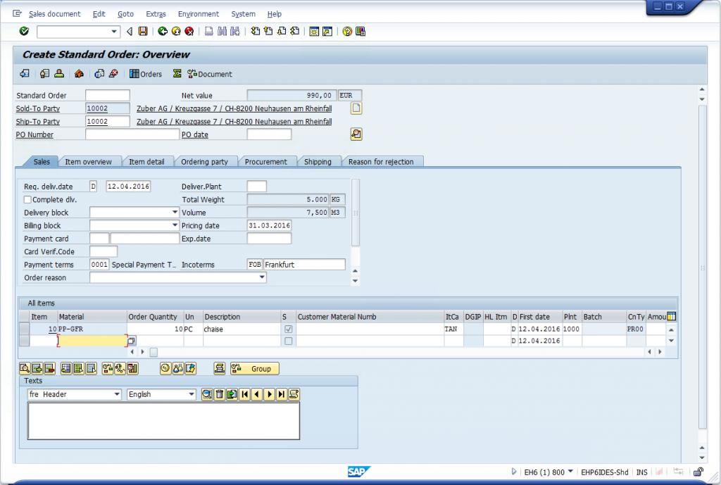 VA01 - Create Sales Order