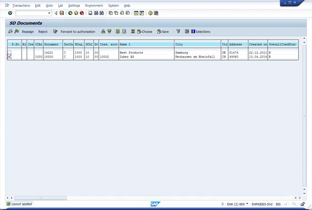 VKM1 - Release Sales Order in Credit Management
