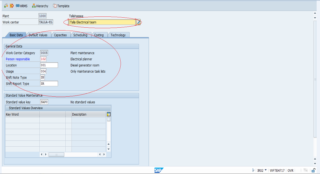 SAP Create Work Center - Basic Data