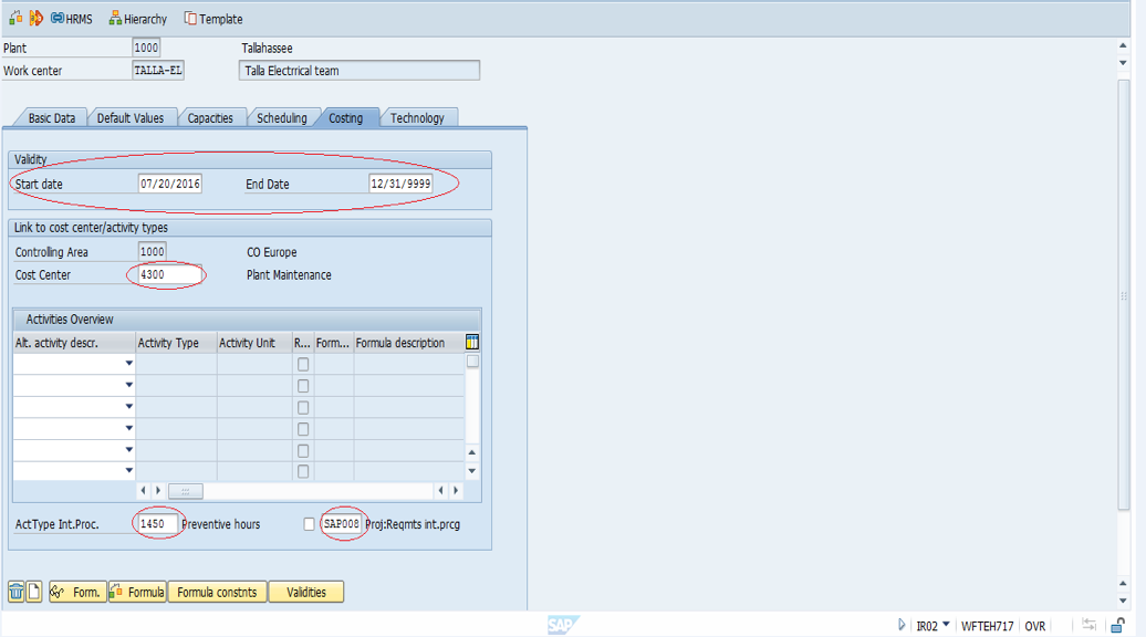 Create SAP PM Work Center - Costing