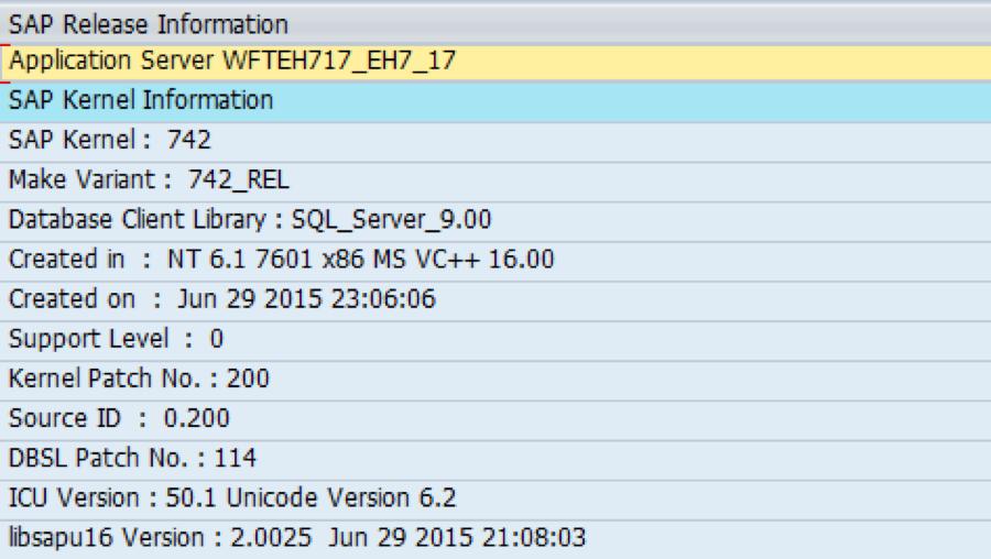 SAP Kernel Release Information