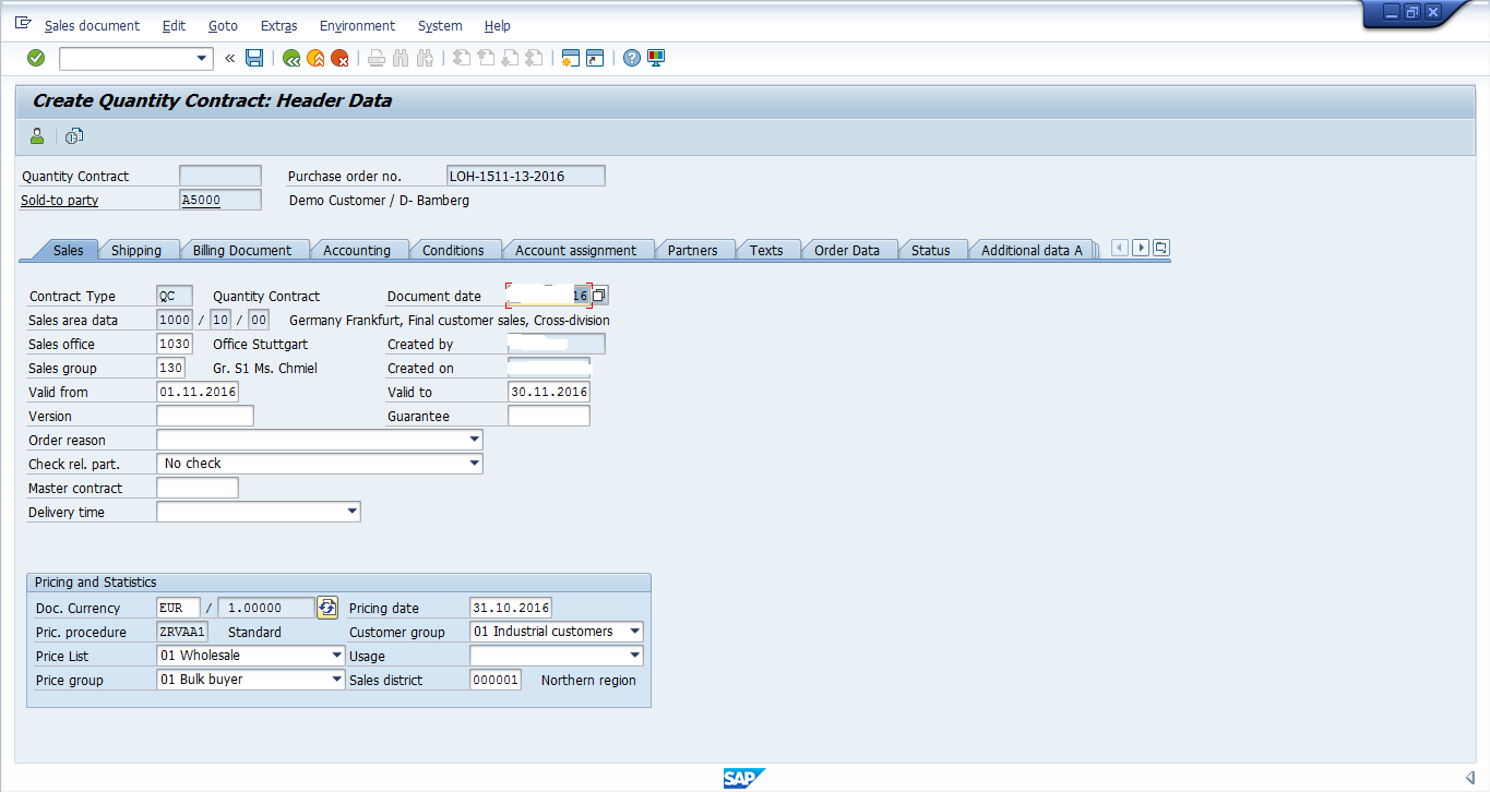 Sales Data in SAP SD Contract Header