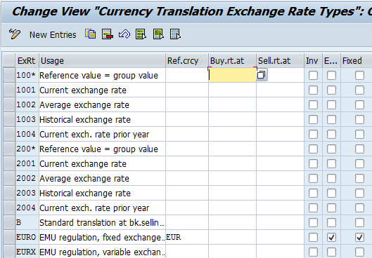 Currency Translation Exchange Rate Types Table
