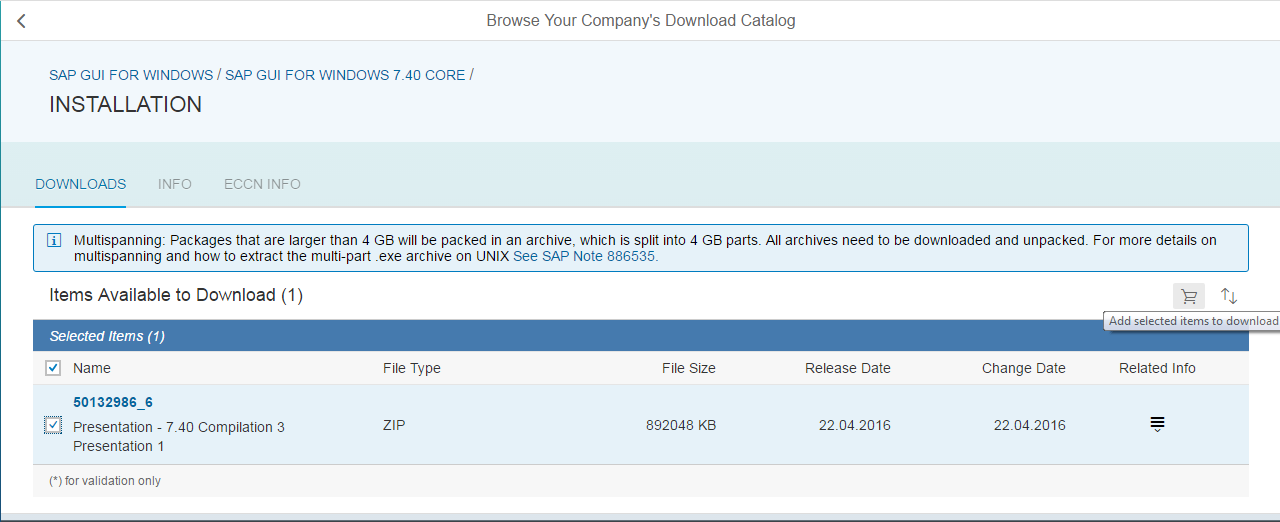 Add SAP GUI to Download Basket