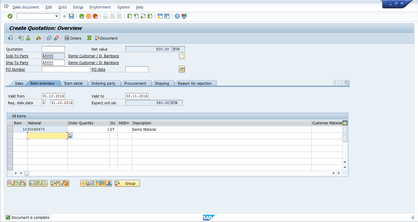 SAP SD Quotation is Complete