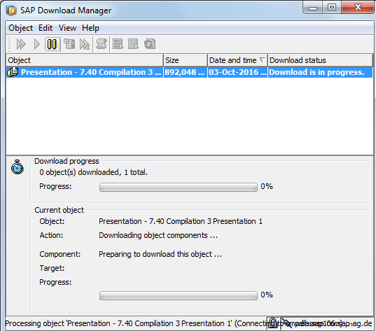 SAP Download Manager - SAP GUI Download is in Progress