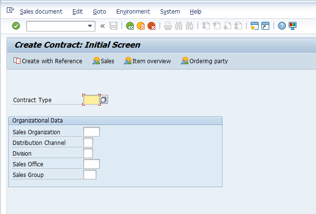 Create Contract – Initial Screen