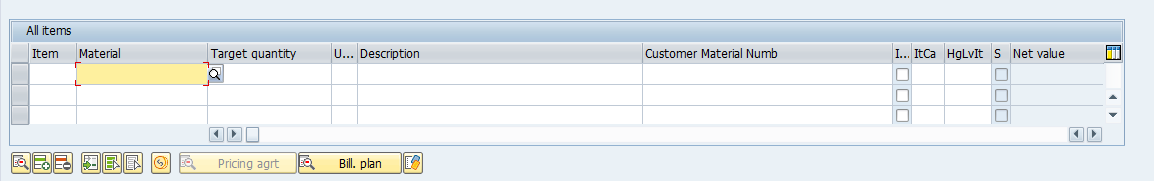 Line Items of SAP SD Contract