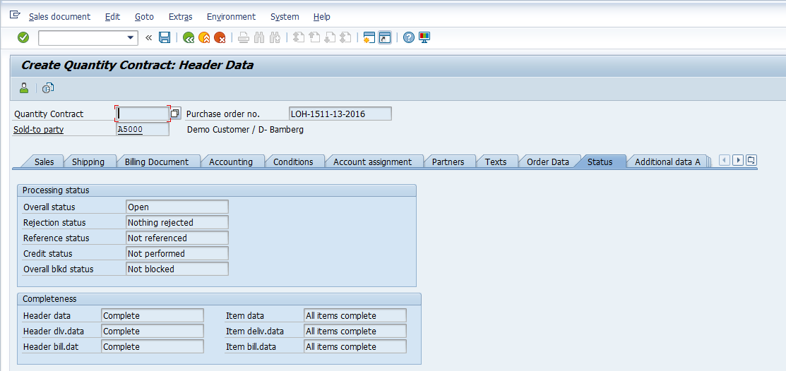 Status Screen of SAP Contract Header
