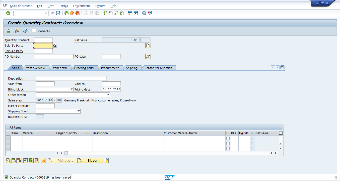 SAP SD Contract was Successfully Saved