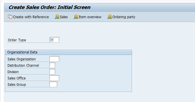 Create Sales Order – Initial Screen
