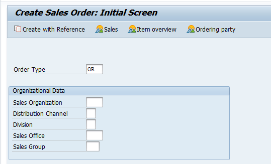 "Create a Standard Sales Order with Type ""OR"""