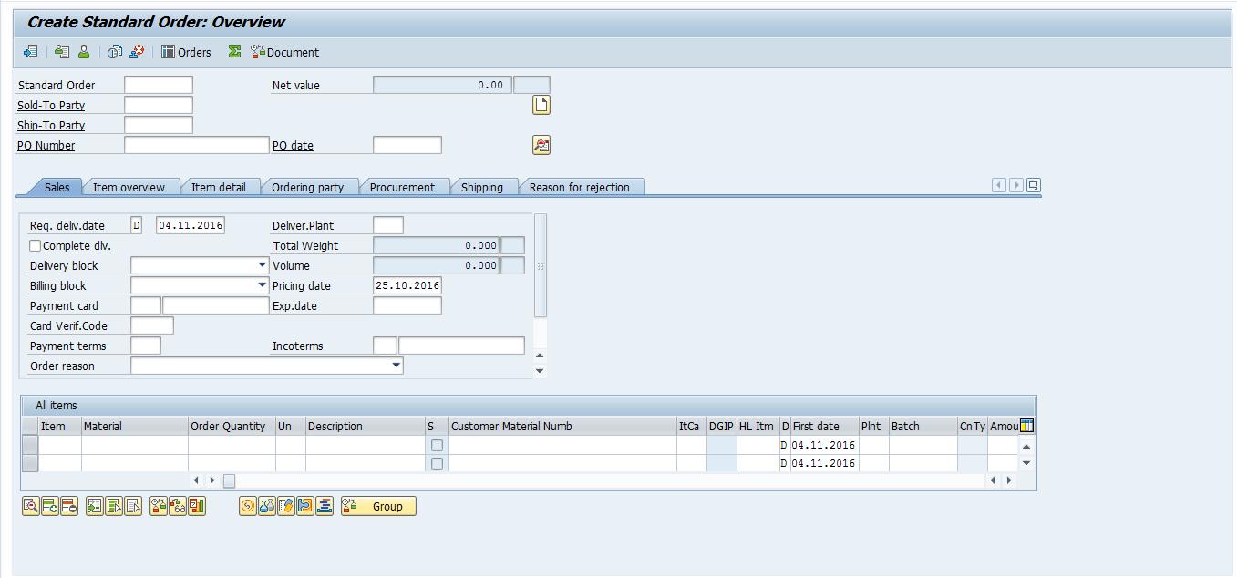 Create Standard SAP Order