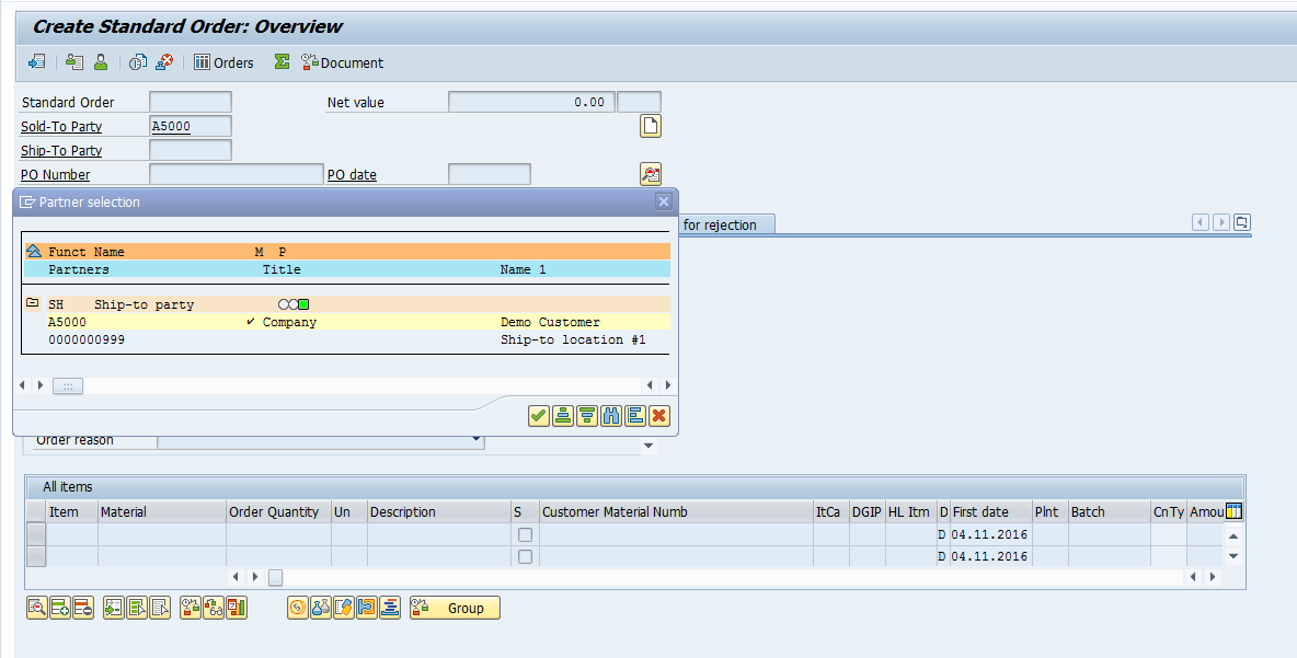 how to create service order in sap sd