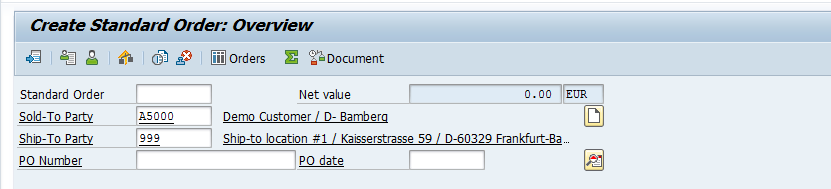 SAP SD Sales Order Header