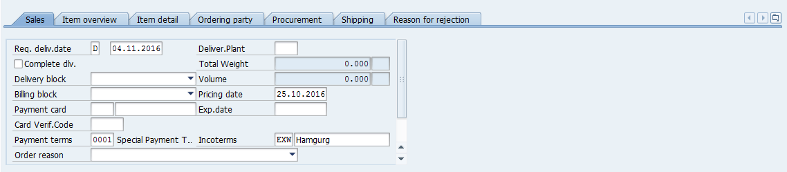SAP SD Sales Order Overview