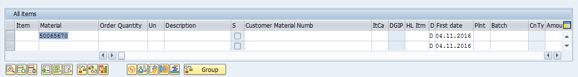 Material Number was Added to Sales Order