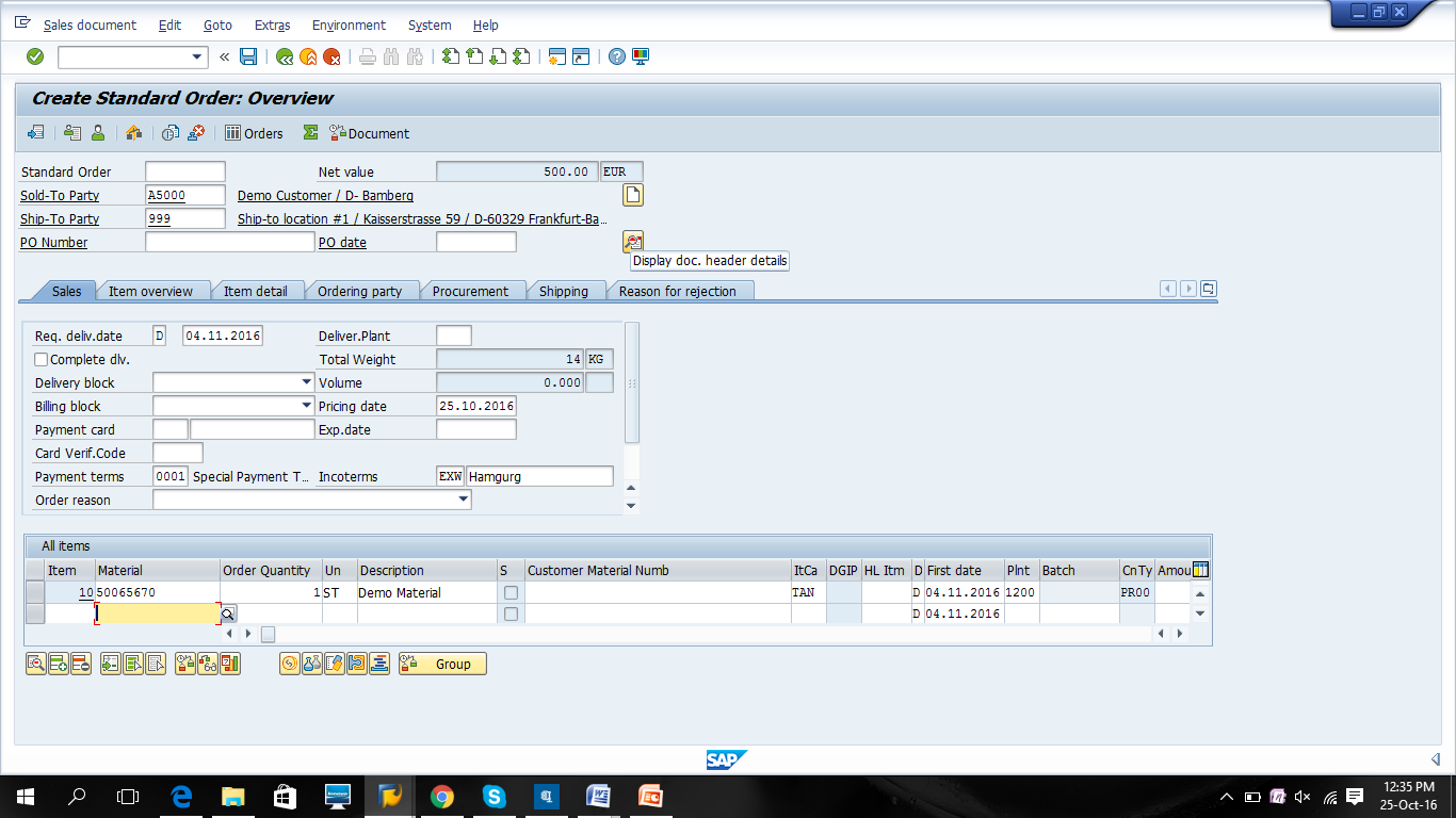 Display Document Header Details