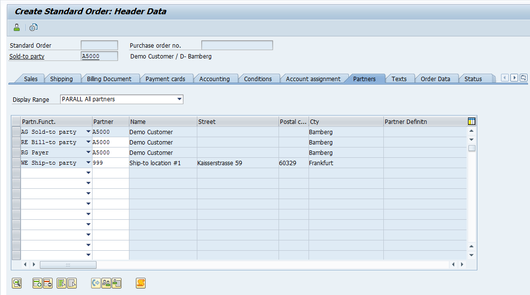 SAP Sales Order Header Partners