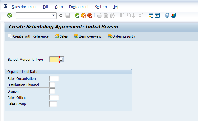 Select Relevant Scheduling Agreement Type