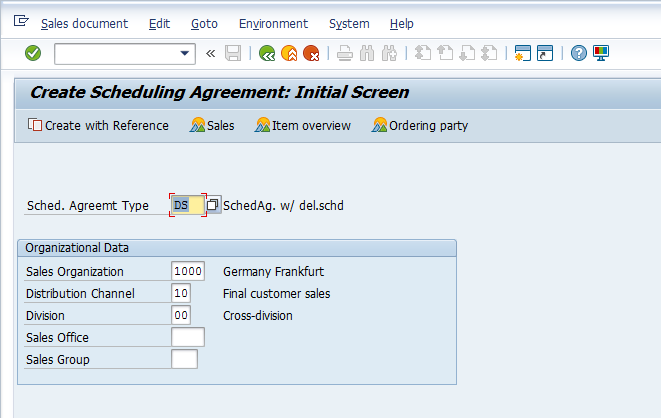 Scheduling Agreement with Type DS will be Created