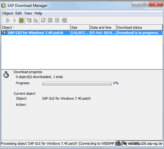 SAP GUI Patch Download is in Progress