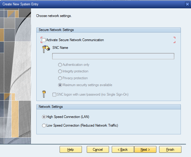 Network Settings for SAP Logon