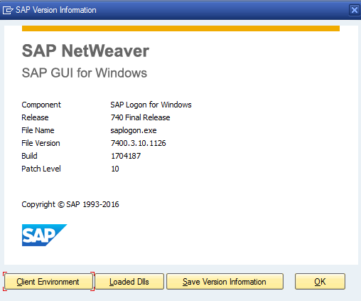 Updated SAP GUI Version Number