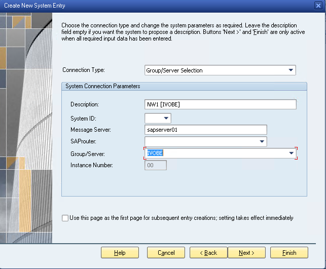 SAP Logon Configuration with Logon Group
