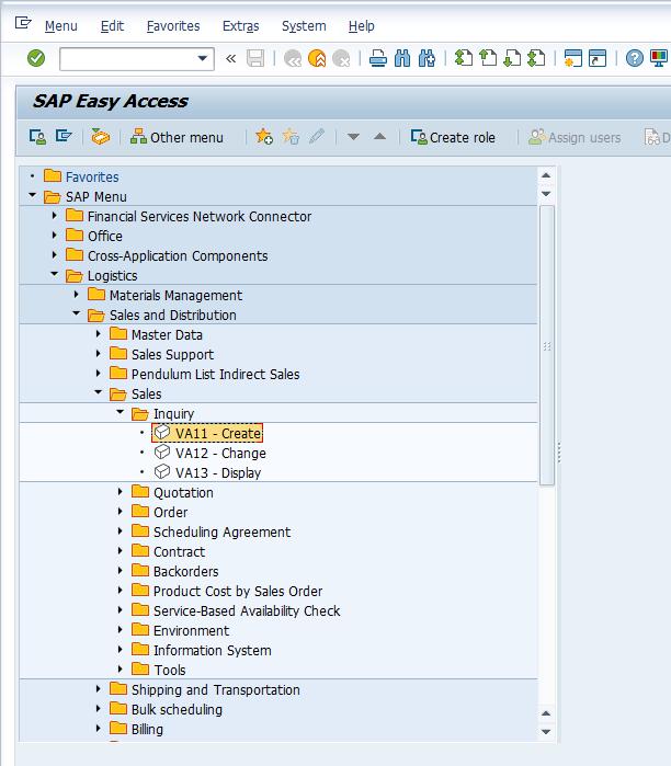 VA11 Transaction for Creation of Inquiry in SAP Menu