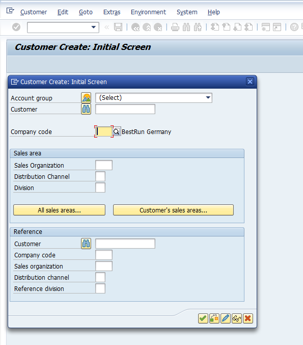 SAP Customer Master - Initial Screen