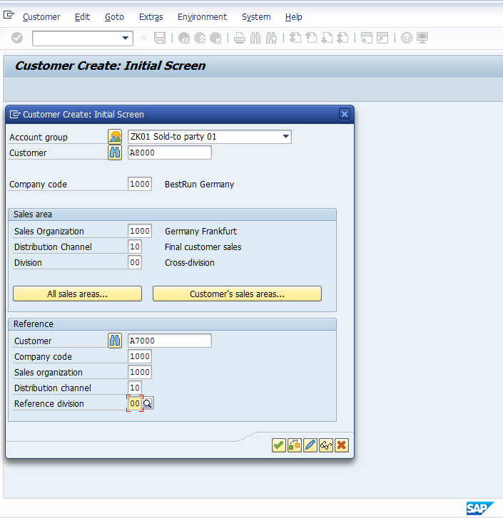 Customer Master - Initial Screen > All Fields Populated