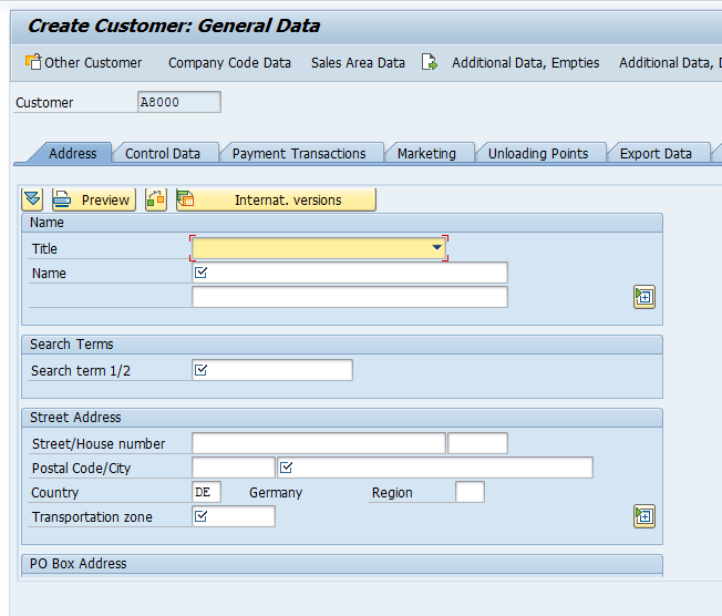 Customer Master – General Data > Address