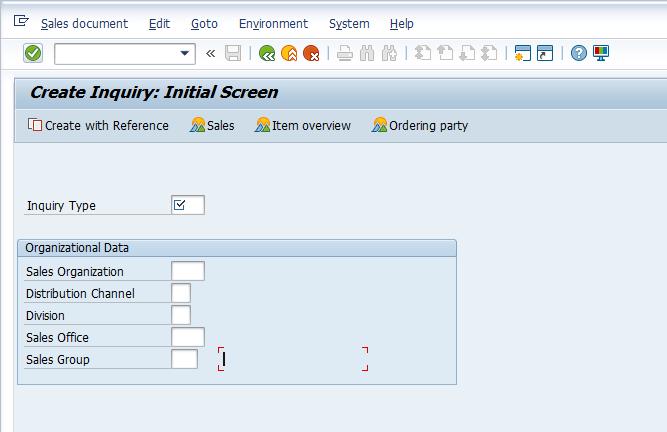 Create Inquiry - Initial Screen