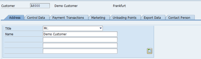Customer Master – General Data > Address, Additional Fields