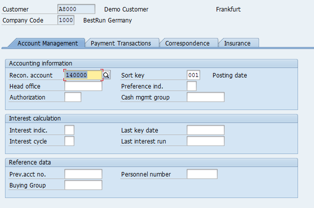 Customer Master – Company Code Data > Account Management