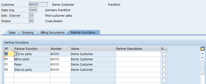 Customer Master – Sales Area Data > Partner Functions