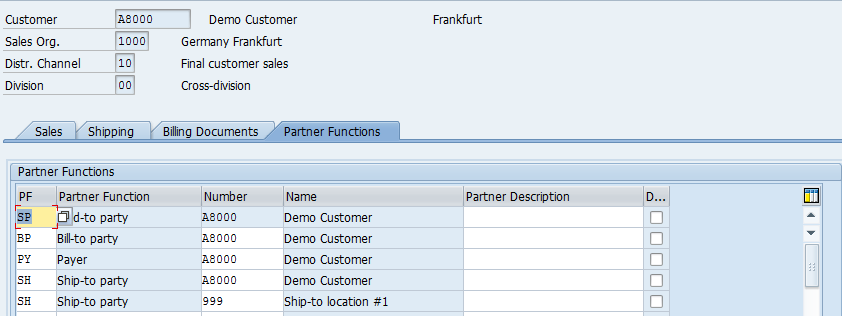 Customer Master – Sales Area Data > Partner Functions, Multiple Ship-to Parties
